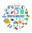 ophthalmology concept with thin line icons vector image