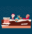 santa claus and girl helper in the chimney vector image vector image