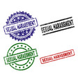 scratched textured sexual harassment seal stamps vector image