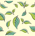 seamless pattern green leaves plants background vector image