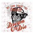 skull bandana wearing cap and text dream quote vector image vector image