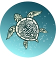 Swimming sea turtle with Polynesian tribal pattern vector image