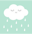white cloud rain drop icon smiling sleeping face vector image vector image