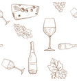 wine set grapes cheese and wine bottle outline vector image