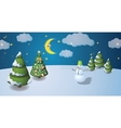 Winter scenery with snowman vector image vector image