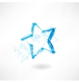 Blue star grunge icon vector image