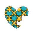 heart puzzle pieces image vector image