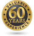 60 years valuable experience gold label vector image vector image