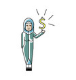 arabic woman with dollar sign in hand vector image vector image