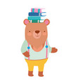 back to school education bear with books in head vector image
