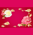 background with peonies and chinese clouds vector image vector image