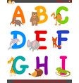 cartoon alphabet with cute animals vector image
