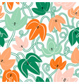 cartoon ivy leaves with cute faces pattern vector image vector image