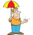 Cartoon man holding an umbrella vector image vector image