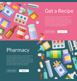 cartoon pharmacy or medicines horizontal vector image