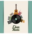 Cassette speaker vinyl guitar radio gramaphone vector image vector image