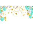 celebration banner with white and green balloons vector image