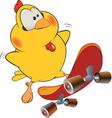 Chicken and skate board cartoon vector image