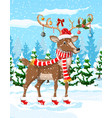 christmas background with cute deer vector image vector image