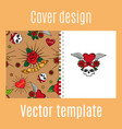 cover design with vintage tattoo pattern vector image vector image