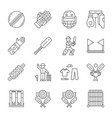 cricket championship linear icons set sport vector image vector image