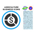 currency diagram rounded icon with set vector image