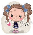 cute girl on a beige background vector image vector image