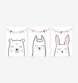 cute posters with little rabbit bear and llama vector image