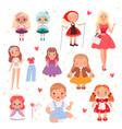dolls toys cute playing model for kids joyful vector image