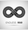Endless realistic road in shape infinity sign