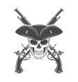 Evil captain skull in cocked hat template vector image