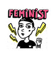 feminist print girl portrait and feninist text on vector image