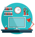 Flat with office things vector image