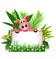 funny pig with blank sign vector image vector image