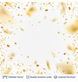 golden festive tinsel confetti blurred in motion vector image vector image