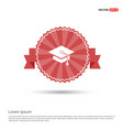 graduation cap icon - red ribbon banner vector image