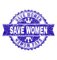 grunge textured save women stamp seal with ribbon vector image vector image