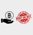 hand offer bitcoin icon and grunge rent or vector image vector image