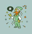 hipster duck cartoon t shirt design vector image vector image