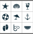 hot icons set collection of melon parasol star vector image vector image