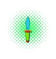 Hunting knife icon comics style vector image