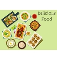 Indian cuisine spicy dishes for lunch icon vector image vector image