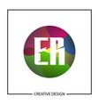 initial letter er logo template design vector image