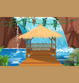landscape wooden pavilion at waterfall vector image vector image