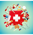 medical equipment and drugs medicine banner with vector image vector image