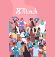 mix race women with flowers celebrating womens day vector image