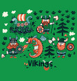 nordic collection with vikings dragon and ship vector image