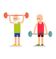 old person perform exercises to barbell lifting vector image vector image