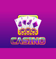 purple logo text casino and icon for ui game vector image