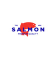 salmon fish logo seafood label badge vector image vector image